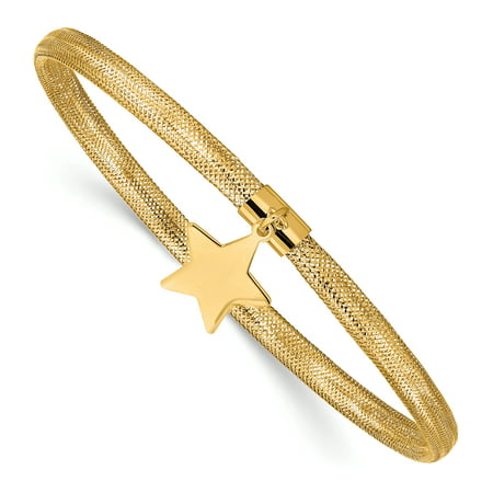 14 Karat Yellow Gold Mesh Star Dangle Stretch Bracelet