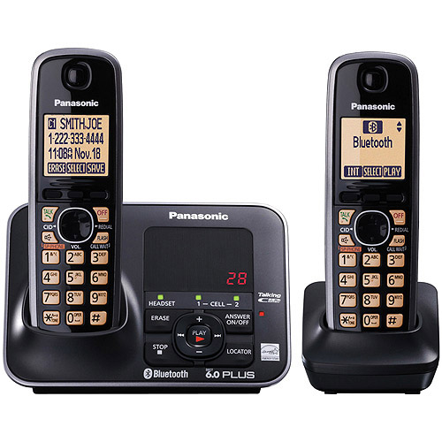Panasonic KX-TG7622B Link-to-Cell Bluetooth Cellular Convergence Solution with 2 Handsets