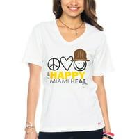 Miami Heat Women's I Am Happy V-Neck T-Shirt - White