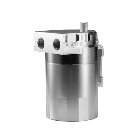 Aluminum Engine Silver Baffled Oil Catch Can Tank Reservoir Breather With Fittings Solid - image 6 of 7