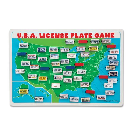 Melissa & Doug Flip to Win Travel License Plate Game - Wooden U.S. Map Game Board License Plate Game Map