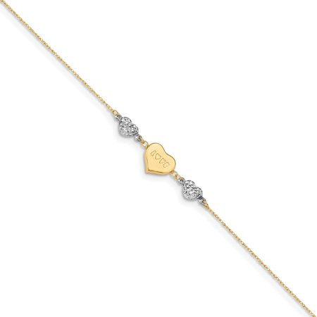 14k Two-tone Solid Solid Gold Puffed Heart LOVE Anklet 9inch for Women Girls -Valentine