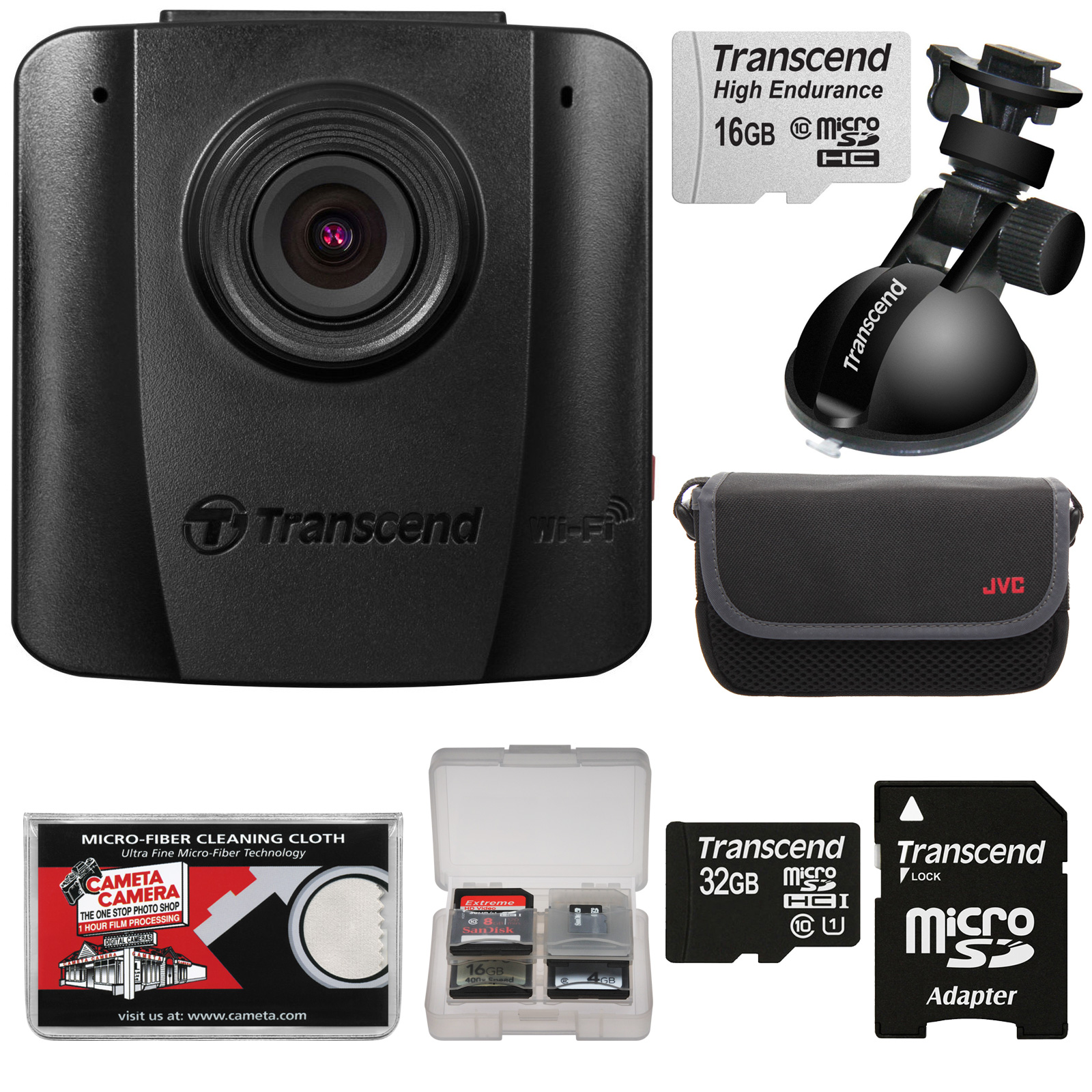 Transcend DrivePro 50 1080p HD Wi-Fi Car Dashboard Video Recorder with Suction Cup Mount + 16GB & 32GB Cards + Case + Kit