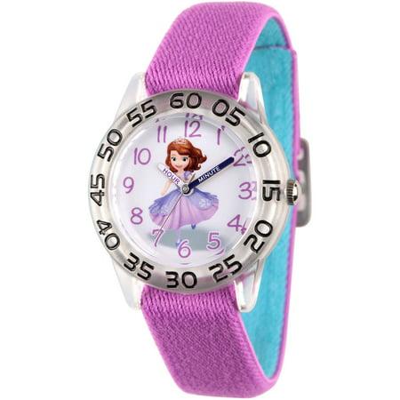 Disney Princess Sofia Girls Clear Plastic Time Teacher Watch  Reversible Purple And Blue Nylon Strap