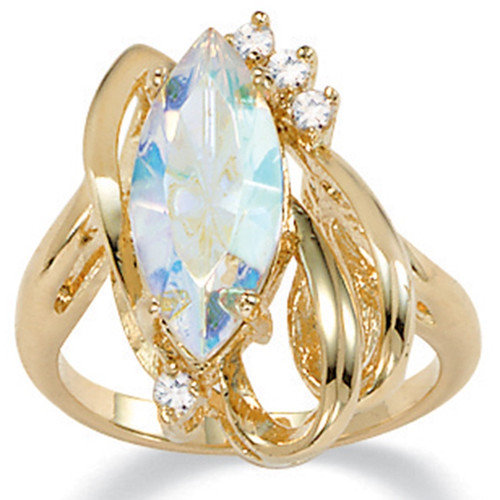 Palm Beach Jewelry Gold Plated Aurora Borealis Crystal Ring