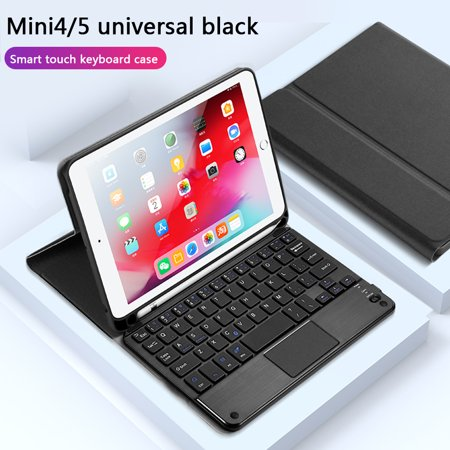 iPad 7.9 Bluetooth Keyboard Case with Built-in Pencil Holder,Black Leather Back Protective Cover w/Magnetically Detachable Wireless Bluetooth Keyboard for iPad Mini 4 Mini 5 ()