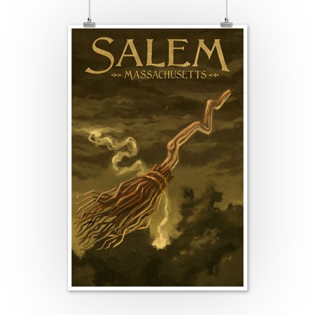 Salem, Massachusetts - Witch's Broom - Halloween Oil Painting - Lantern Press Artwork (12x18 Art Print, Wall Decor Travel Poster)](Halloween Art Printables)