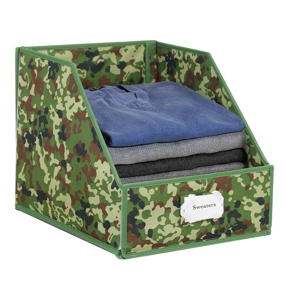 Clothing Storage Bins With Easy Access Front Panel Camouflagegreen