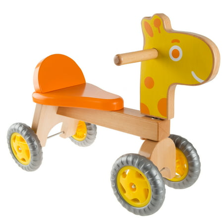 Walk and Ride Wooden Giraffe-Balance Bike for Toddlers 1-2 Years Old-Ride, Push, or Pull Toy Perfect for Boys and Girls by Happy (Wooden Cow Pull Toy)