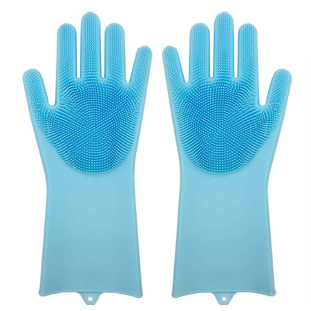 Magic Reusable Silicone Gloves Cleaning Brush Scrubber