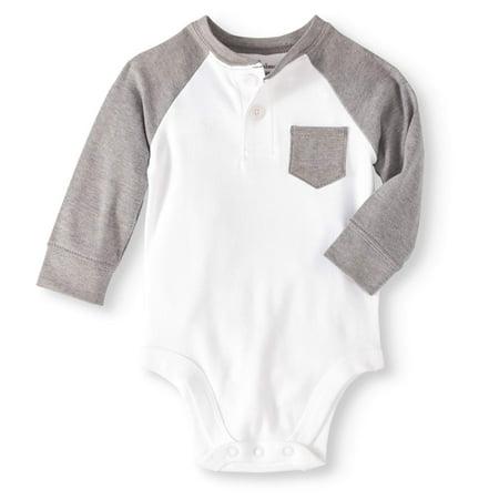 3372af30c9c4 Garanimals - Newborn Baby Boys  Long Sleeve Pocket Henley Bodysuit ...