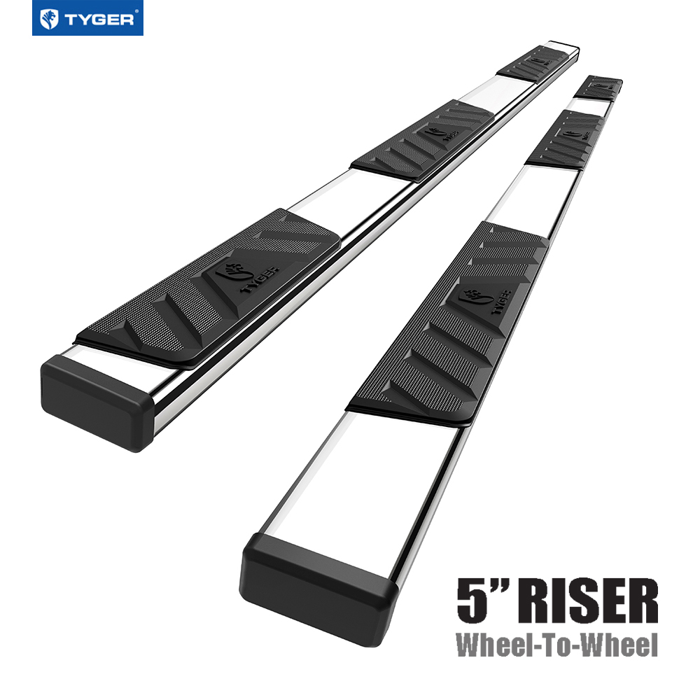 Tyger Auto TG-RS5D50208 Riser 5inch Black Side Step Rails Nerf Bars Running Boards Compatible with 2019 Dodge Ram 1500 Crew Cab