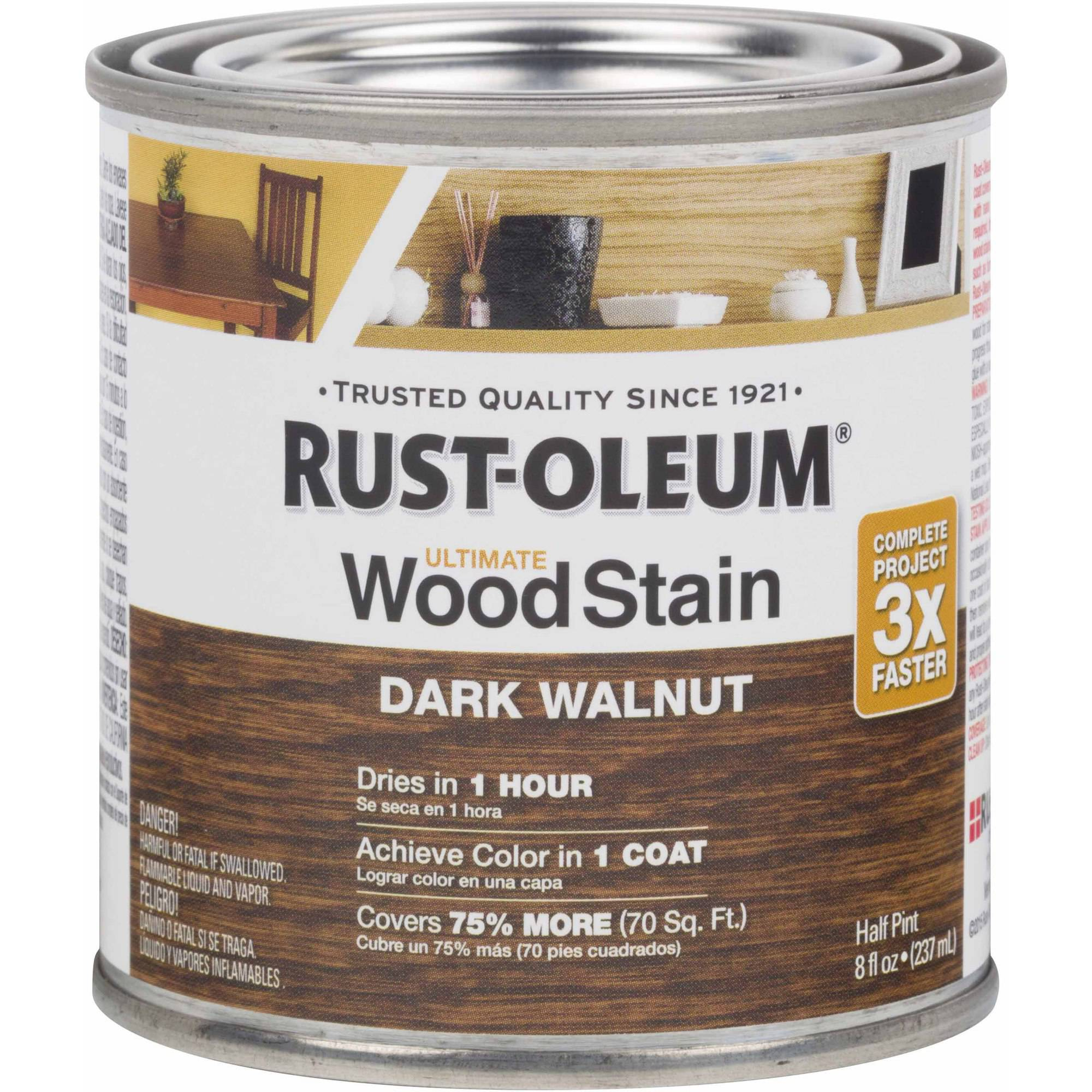 Rust-Oleum Ultimate Wood Stain Half-Pint, Dark Walnut