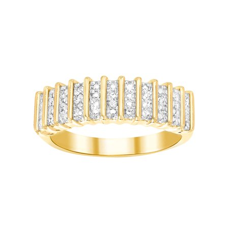 Ladies Diamond Accent Straight Ribbed Design Ring in Yellow Gold Plated Brass Brass Gold Plated Ring