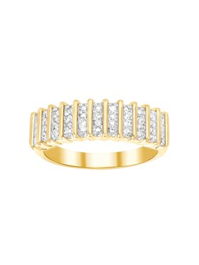Ladies Diamond Accent Straight Ribbed Design Ring in Yellow Gold Plated Brass
