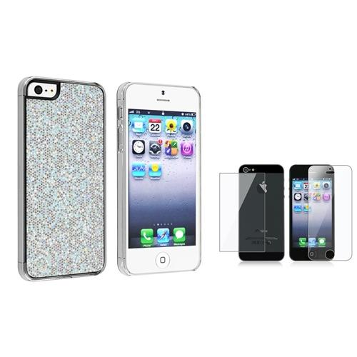 INSTEN Silver Glitter Rear Clip-on Hard Case for Apple iPhone 5 5s + 2-LCD Kit Front and Back protector