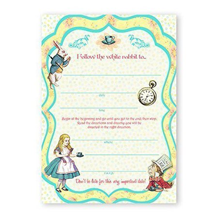 Alice In Wonderland LARGE Invitations - 20 Invitations + 20 Envelopes - Winter Onederland Invitations