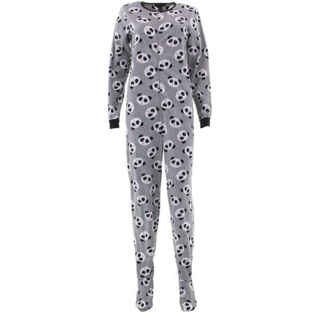 Rene Rofe Women's Panda Gray Footed Pajamas