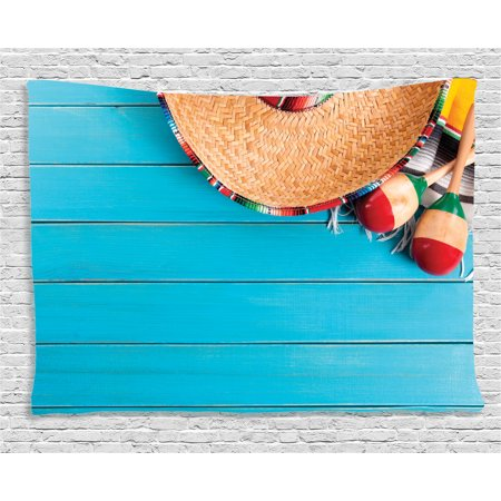 Mexican Decorations Tapestry, Native Latin Elements with Sombrero and Maracas on Wood Background, Wall Hanging for Bedroom Living Room Dorm Decor, 60W X 40L Inches, Blue Cream, by Ambesonne