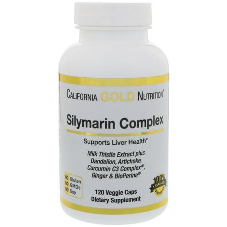 California Gold Nutrition  Silymarin Complex  Liver Health  Milk Thistle  Curcumin  Artichoke  Dandelion  Ginger  Black Pepper  300 mg  120 Veggie