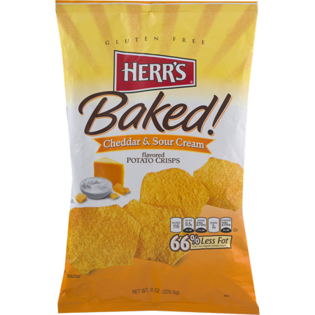 Herr's Cheddar & Sour Cream Baked Potato Crisps 8 oz. Bag-(3