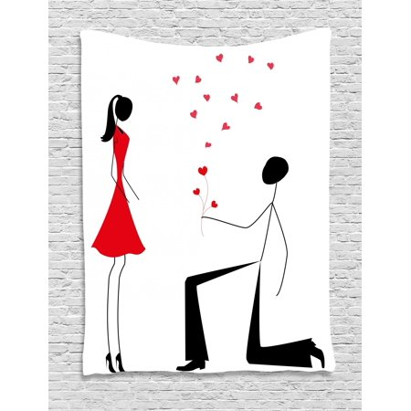 Engagement Party Tapestry, Celebration Modern Minimalist Design Couple with Heart Flowers, Wall Hanging for Bedroom Living Room Dorm Decor, Black White and Red, by Ambesonne (Famous Black And White Couples For Halloween)