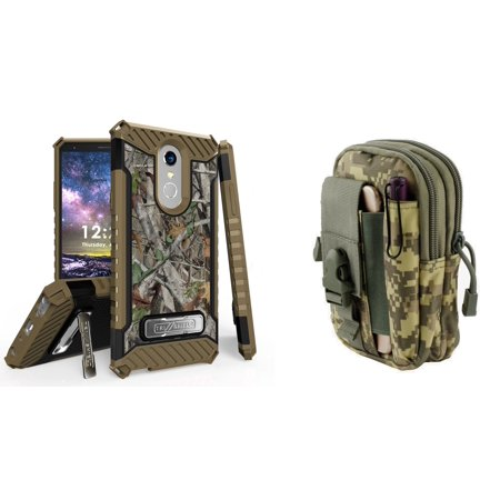 (BC Military Grade Shockproof [MIL-STD 810G-516.6] Kickstand Case (Tree Camo) with ACU Camo Tactical EDC MOLLE Utility Waist Pack Holder Pouch, Atom Cloth for LG Stylo 4+ Plus/LG Stylo 4 (2018))