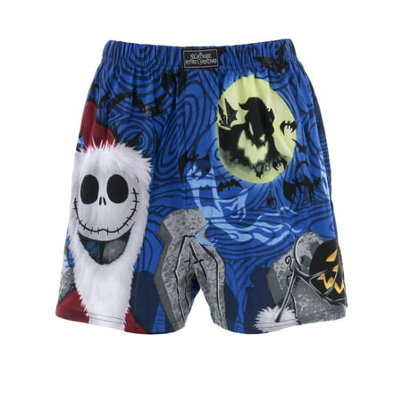 Jack Skellington Men's Santa Blue Cotton Boxer Shorts (Santa Shorts)