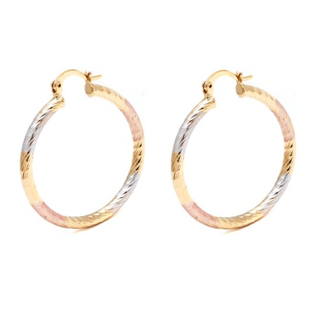 18K Gold Plated Triple-Tone 35mm Diamond-Cut Hoop (18k Diamond Cut Hoop Earrings)