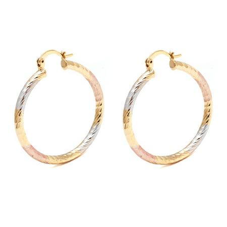 18K Gold Plated Triple-Tone 35mm Diamond-Cut Hoop Earrings ()