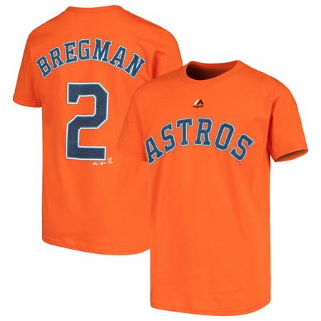 sports shoes c0173 04b2c Alex Bregman Houston Astros Majestic Youth Player Name & Number T-Shirt -  Orange