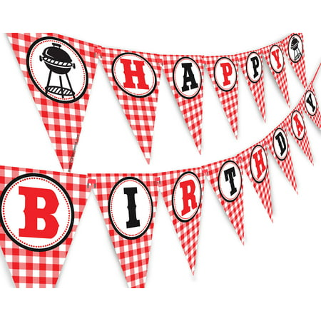 Picnic Happy Birthday Banner - BBQ Birthday Party Pennant - Red Gingham Banner](Bbq Party Ideas)