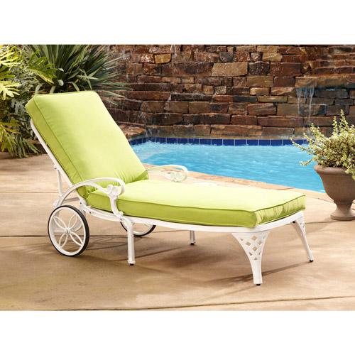 Biscayne White Chaise Lounge Chair Green Apple Cushion