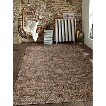 Rugsotic Carpets Hand Knotted Sumak Jute 3'x5' Eco-friendly Area Rug Solid Natural J00010 ()