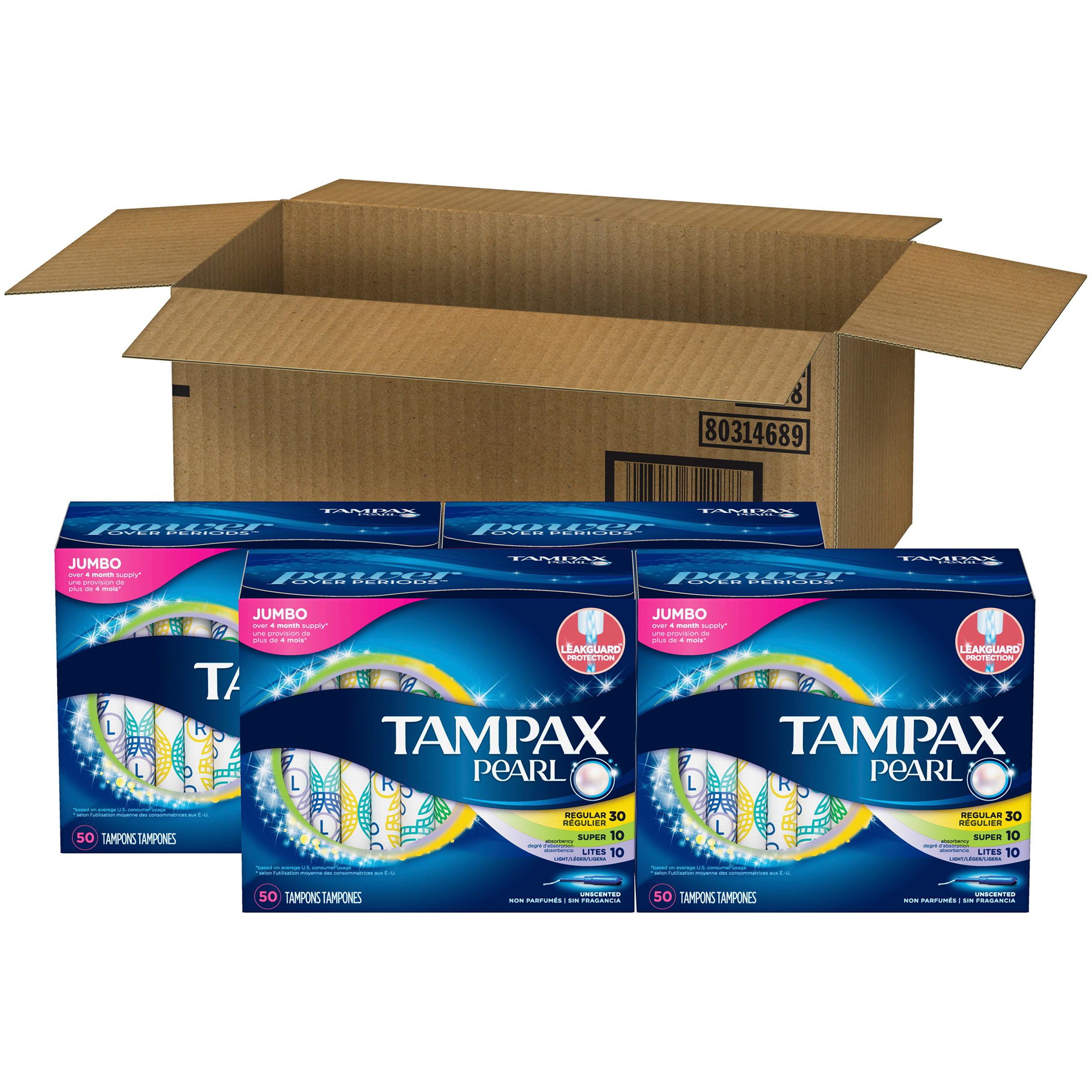 Tampax Pearl Plastic Tampons, Triplepack, (Light/Regular/Super Absorbency), Unscented, 200 Ct