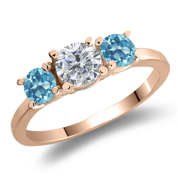 1.16 Ct Round Enhanced Diamond Swiss Blue Topaz 925 Rose Gold Plated Silver Ring
