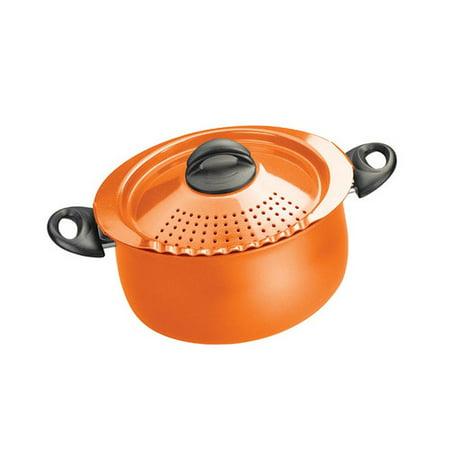 pasta pot with strainer lid 5 quart orange. Black Bedroom Furniture Sets. Home Design Ideas