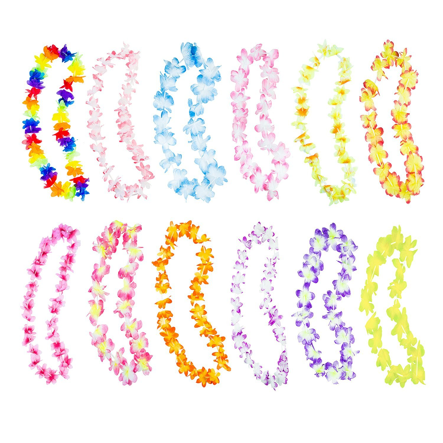 Hawaiian Ruffled Colorful Luau Silk Flower Leis Necklaces (50 Pack) by Super Z Outlet