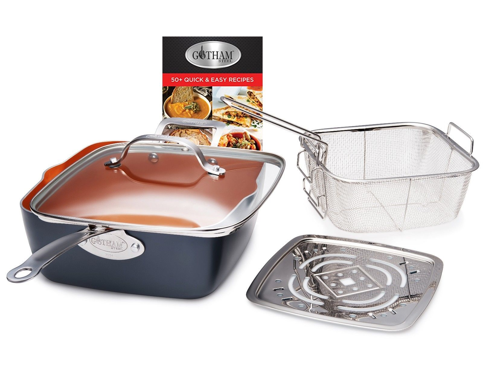 Gotham Steel Deep Square Frying Pan Set