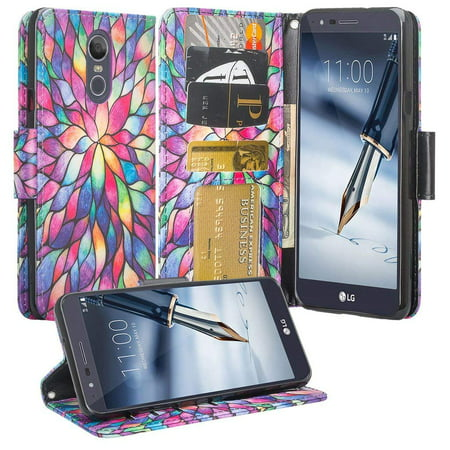 LG Stylo 4 Case/Stylo 4 Plus Case, PU Wallet Leather ID Cash Credit Card Slots Holder Carrying Folio Flip Cover & Kickstand - Rainbow (Four Slot)