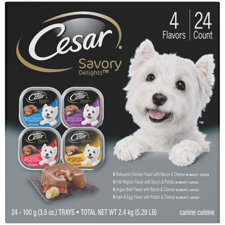 CESAR SAVORY DELIGHTS Wet Dog Food Rotisserie Chicken, Filet Mignon, Angus Beef, and Ham & Egg Flavors Variety Pack, (24) 3.5 oz. Trays
