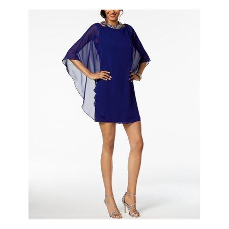 XSCAPE Womens Blue Embellished Chiffon Overlay Kimono Sleeve Mini Party Dress  Size: 4