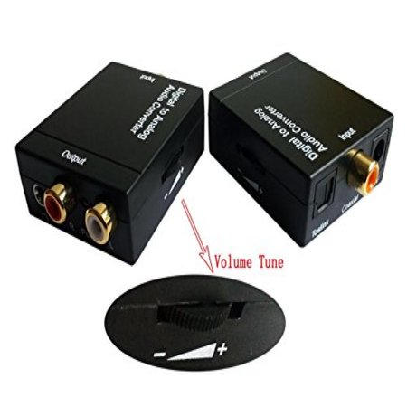 EDTREE Digital Optical Coax Toslink S/PDIF to Analog Coaxial RCA Audio Converter Adapter with Fiber Cable with Volume Control