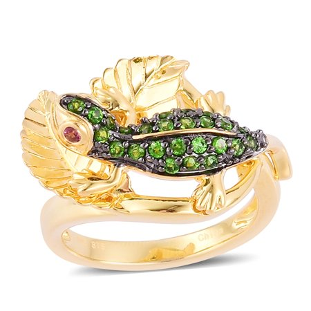 925 Sterling Silver Yellow Gold Plated Round Chrome Diopside Pink Tourmaline Couple Ring Cttw 0.9