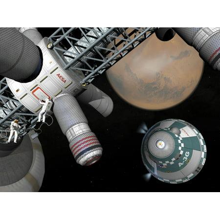 Artists concept of a future space exploration mission Canvas Art - Walter MyersStocktrek Images (17 x 13)
