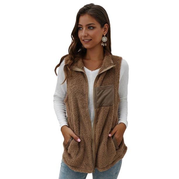 Sexy Dance - Women Warm Open Stitch Faux Fur Vests Fleece Jackets