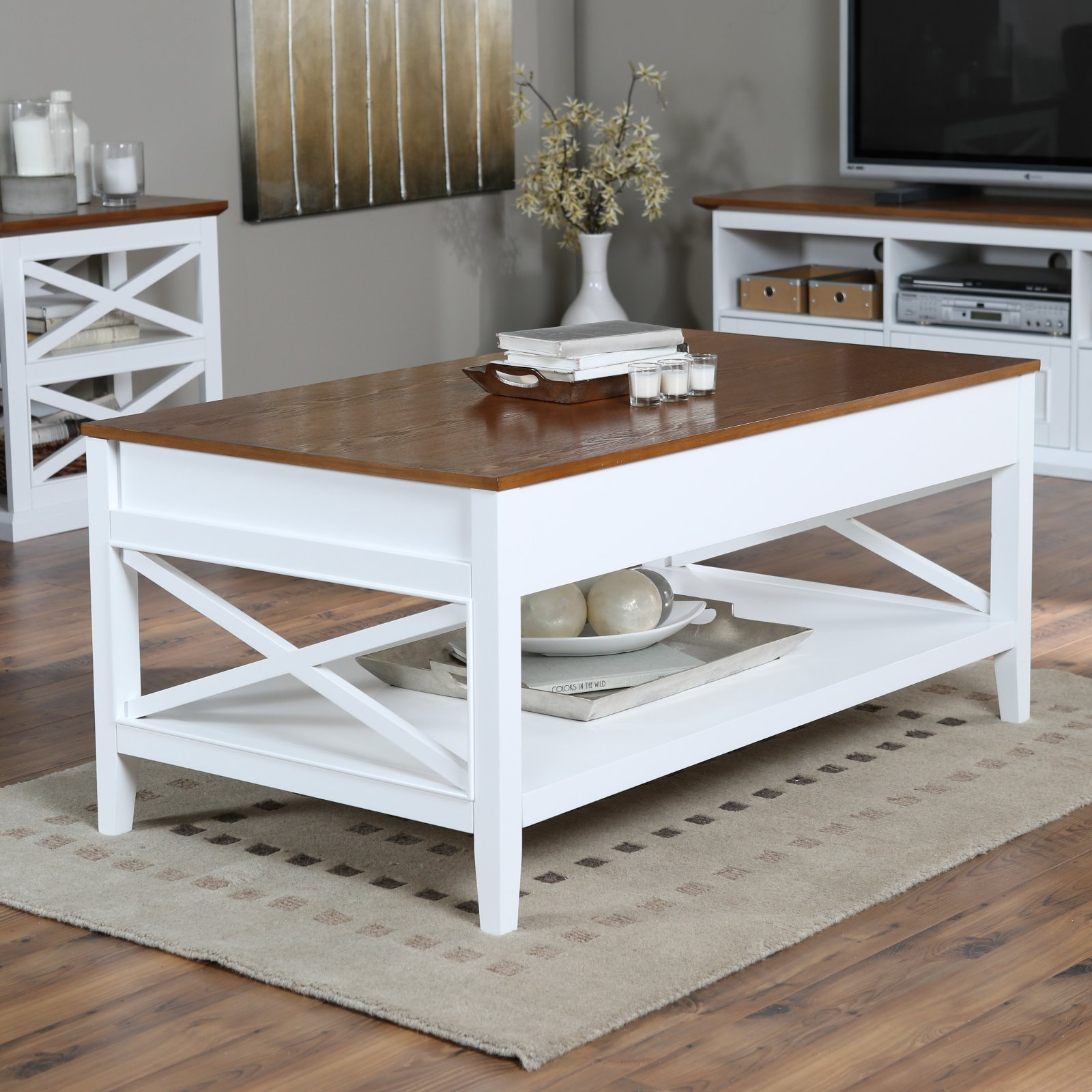 Belham Living Hampton Lift Top Coffee Table   White/Oak