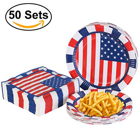 PBPBOX 4th of July Party 50 Pk Plates and Napkins with American Flag Patriotic Design for Independence Day](Fourth Of July Plates)