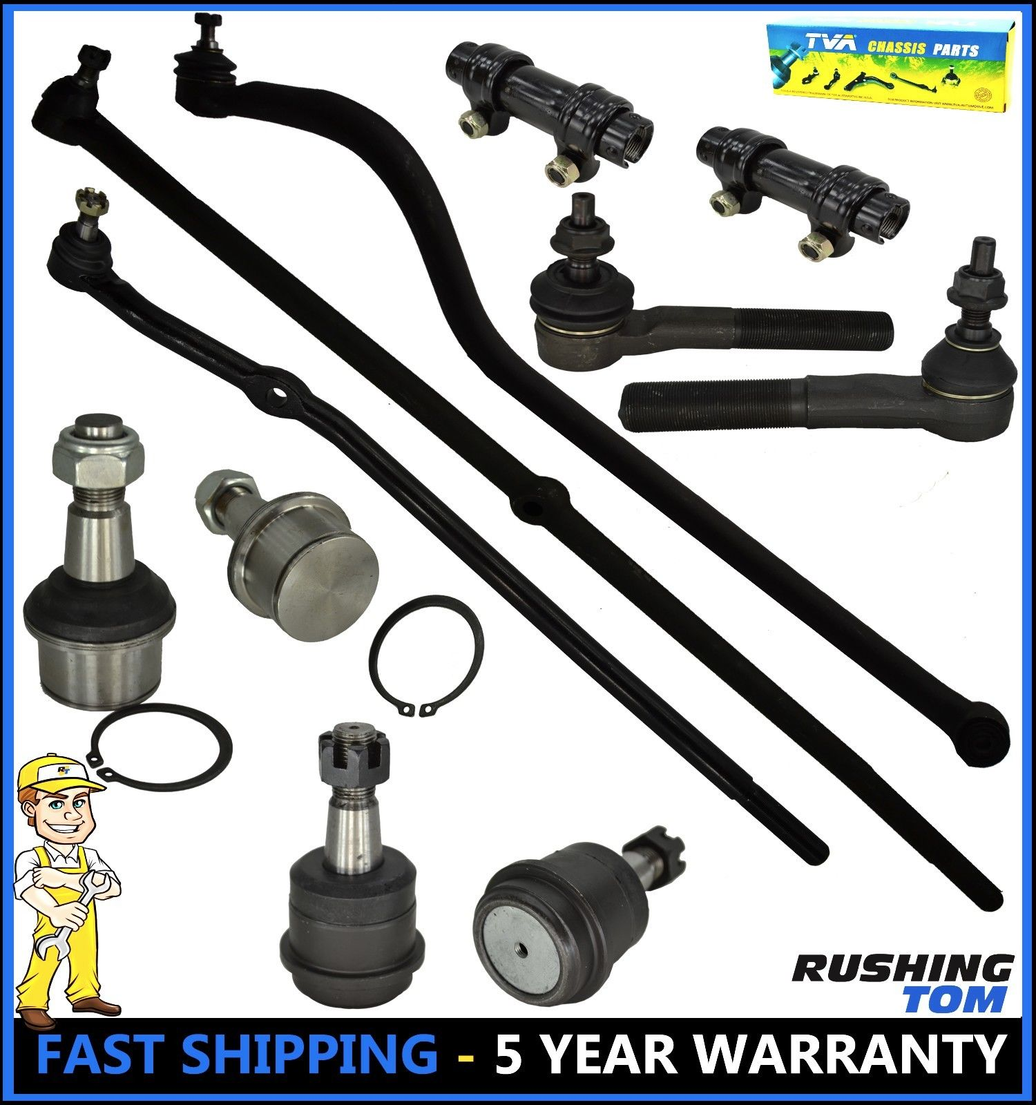 11 Pc Complete Suspension Kit Tie Rod Ends Ball Joint Dodge Ram 2500 3500 4x4