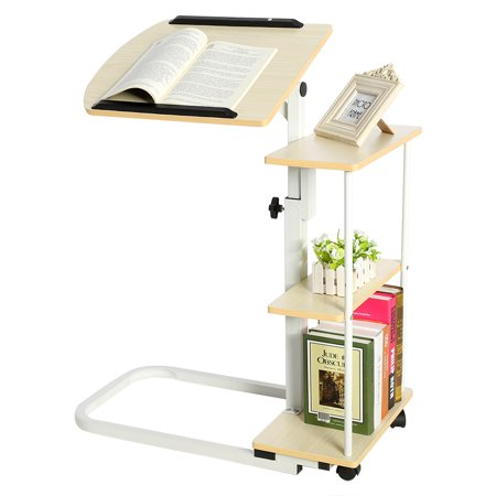 Hilitand Sofa Table, Multi-function Height Adjustable Overbed/Sofa Table Laptop Cart Computer Desk with Wheels (Adjustable Side Shelf)